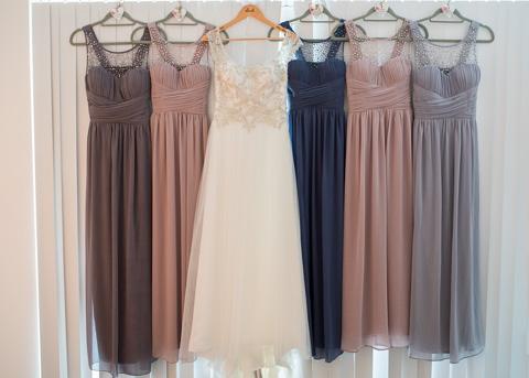 Bride and bridesmaids wedding dress