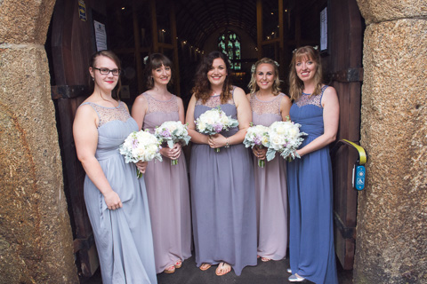 Bridesmaids outside the church