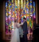 Catholic wedding stain glass window