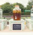 Pimms in a big glass jar at a wedding