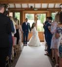 Bride and groom cheering