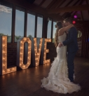 Tregenna Castle Confetti first dance in front of love letters