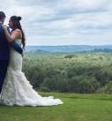 Bride and groom hugging at tregenna castle