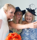 Bride with bridesmaid and mother of the bride at the harbour hotel St Ives
