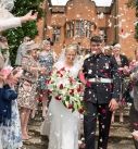 Bride and groom confetti picture