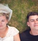 Bride and groom romantic