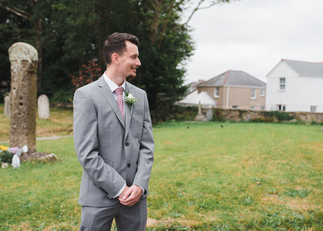 Groom outside church
