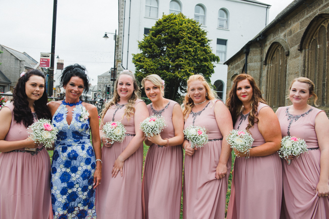 Bridesmaids outside of church, cornwall