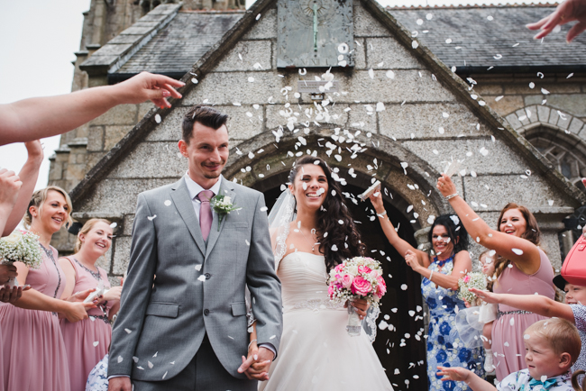 Bride and groom confetti Cornwall