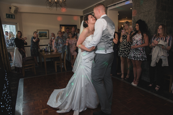 Bride and groom first dance Rosewarne manor full length