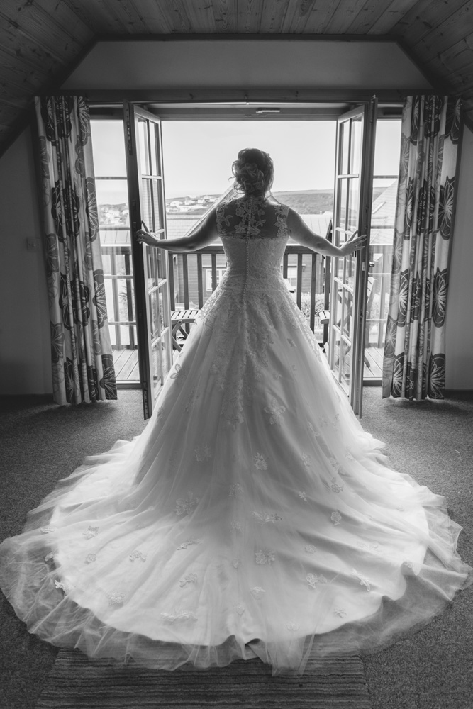Black and white bride in her dress