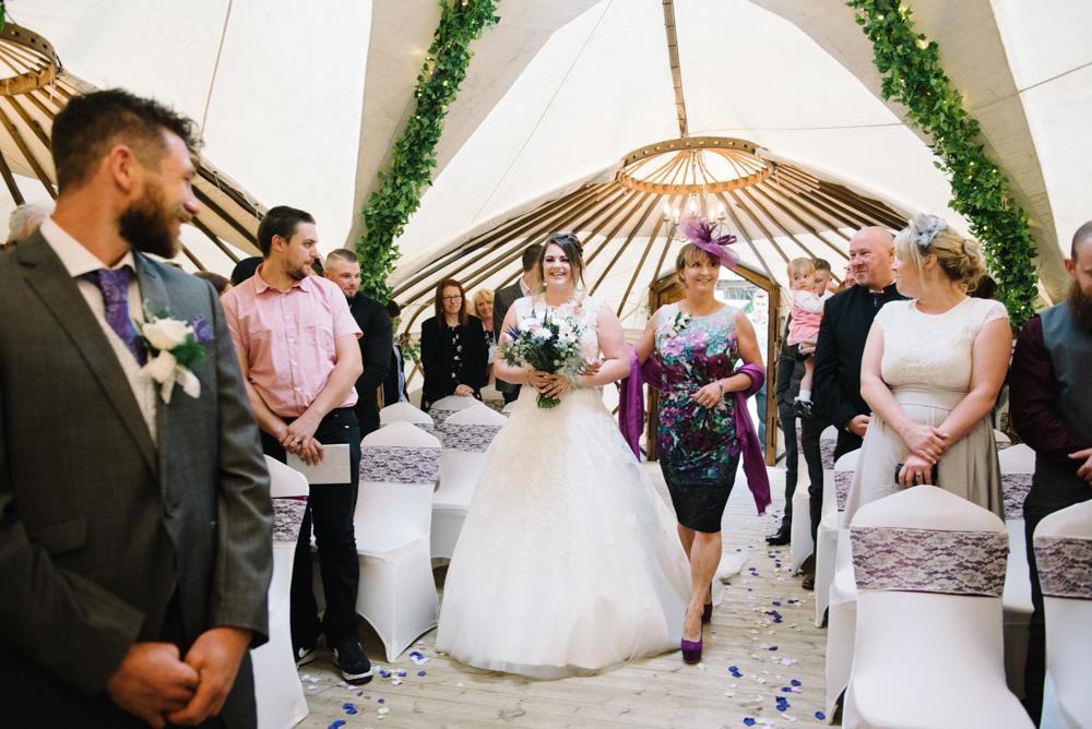 Bride walking down aisle gwel an mor