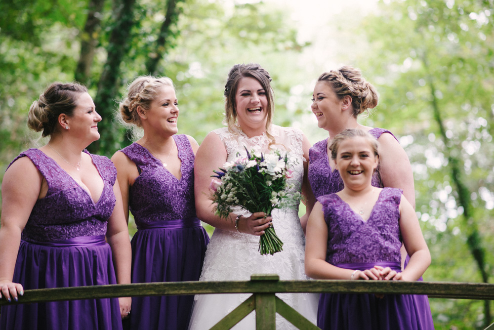 Bridal party in woods