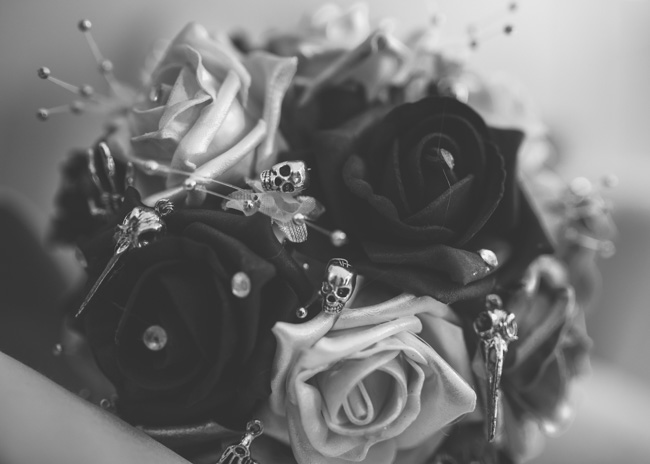 Black roses wedding bouquet