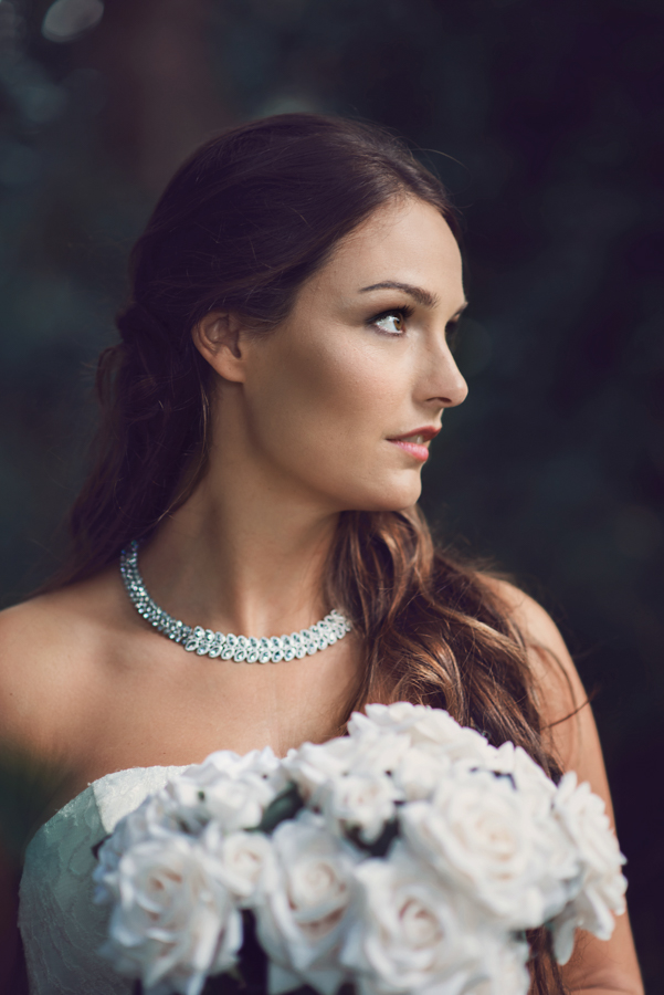 Bridal portrait, beautiful trereife house