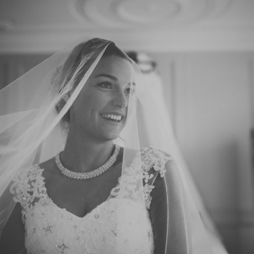 Black and white veil wedding