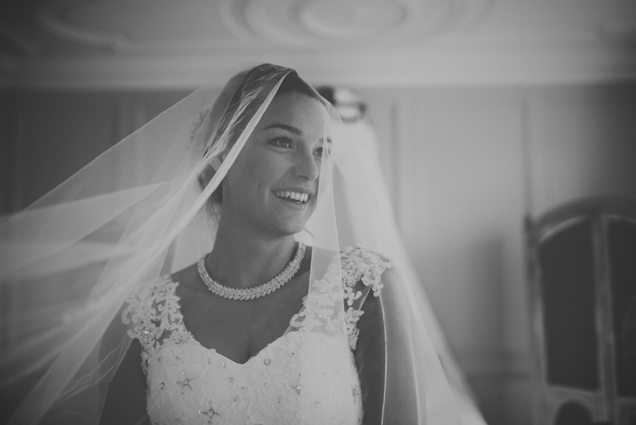 Black and white veil wedding trereife house