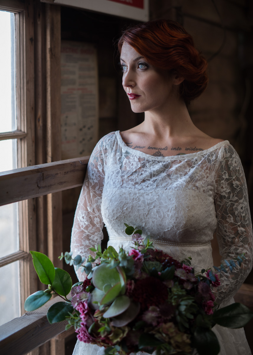 Red head bride rustic