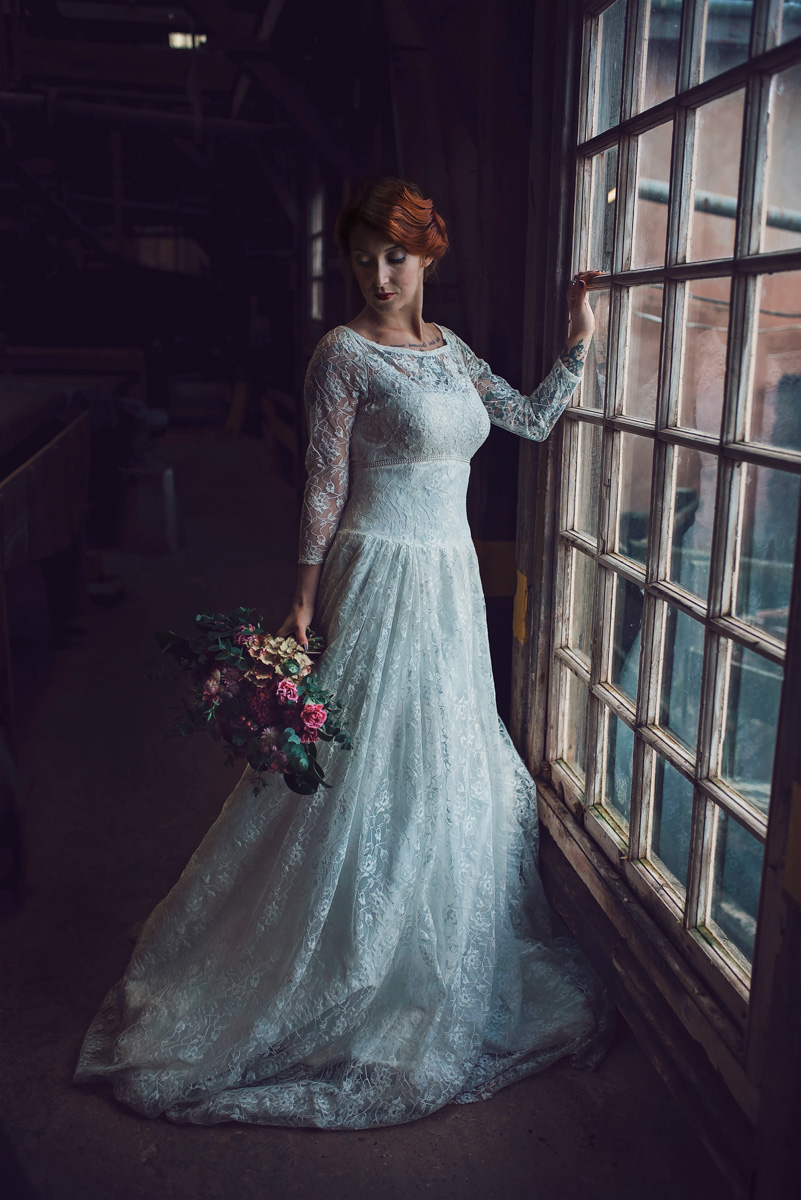Red head bride in window
