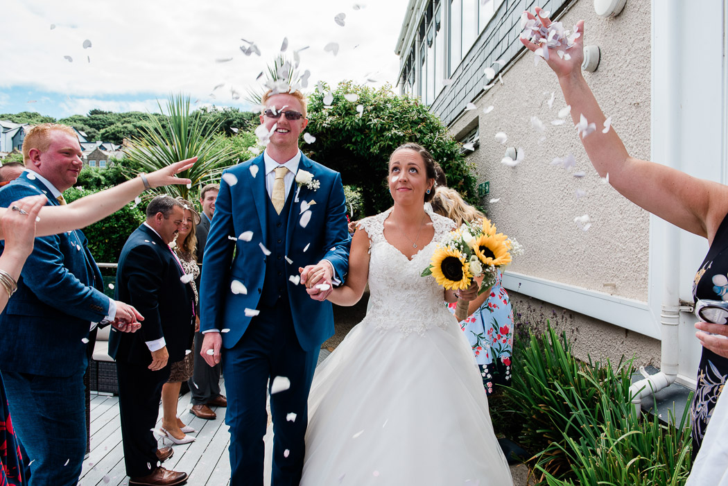 Harbour Hotel st ives wedding confetti